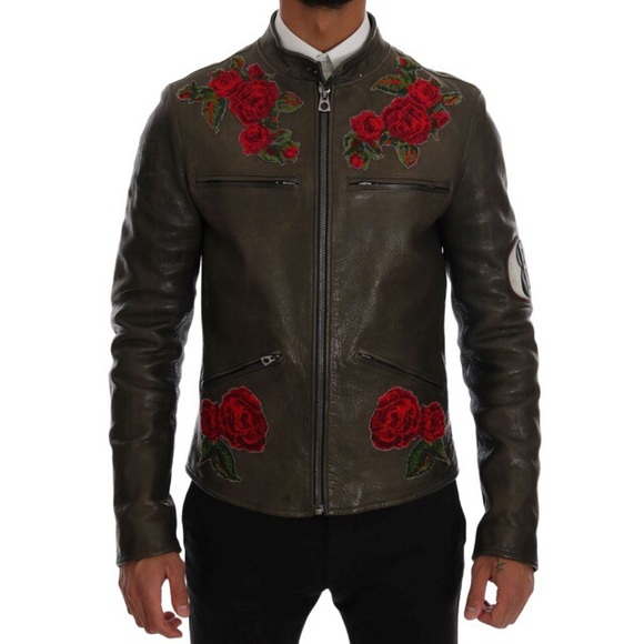 c309028b9 DOLCE & GABBANA LEATHER ROSES EMBROIDERED JACKET